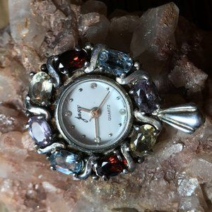 Vintage Jasco Sterling Gemstone Watch Pendant